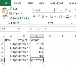 Excel Data Entry Tracking Word Counts